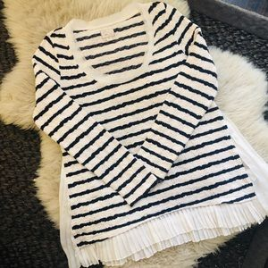 Anthropologie Striped Long-Sleeve Top with Ruffle